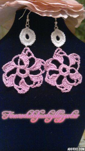 crochet lace earrings www.finecrochetedjewelry.blogspot.ro