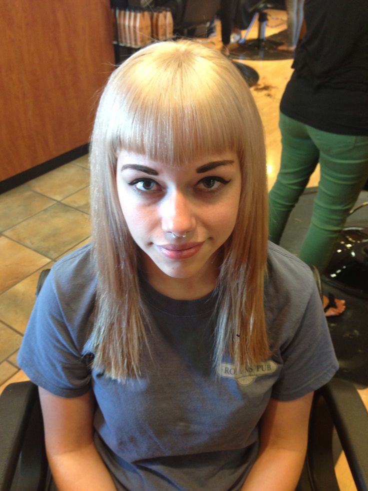Betty Bangs And Ice Blonde Hair By Samon Hair Amp Nails By