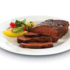 Cumin-Pepper-Rubbed Denver Cut Steak with Avocado Salsa Verde