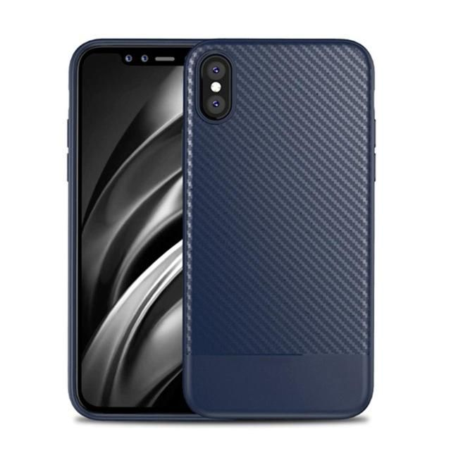 Luxury Case For Iphone X Carbon Fiber Thin Slim Back Soft Silicon Coque Case For Apple Iphone X Iphonex Accessories Black Cover Silicone Phone Case Iphone Carbon Fiber