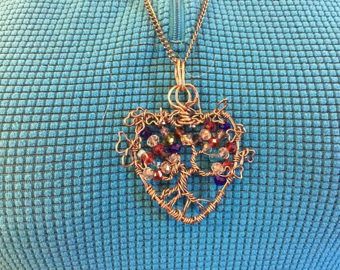 Tree of Life in a Heart-Shaped frame with Twisted Wire Butterflies all made with Antique Bronze Wire