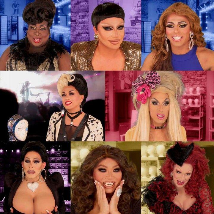 Latrice Royale, Raven, Shangela LaQuifa Wadley, Manila Luzon, Alaska Thunderfuck, Sharon Needles, Jujubee, and Jinx