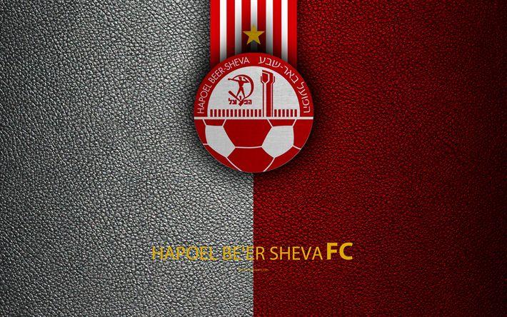 Download wallpapers Hapoel Beer Sheva FC, 4k, football, logo, emblem, leather texture, Israeli football club, Ligat HaAl, Beer Sheva, Israel, Israeli Premier League