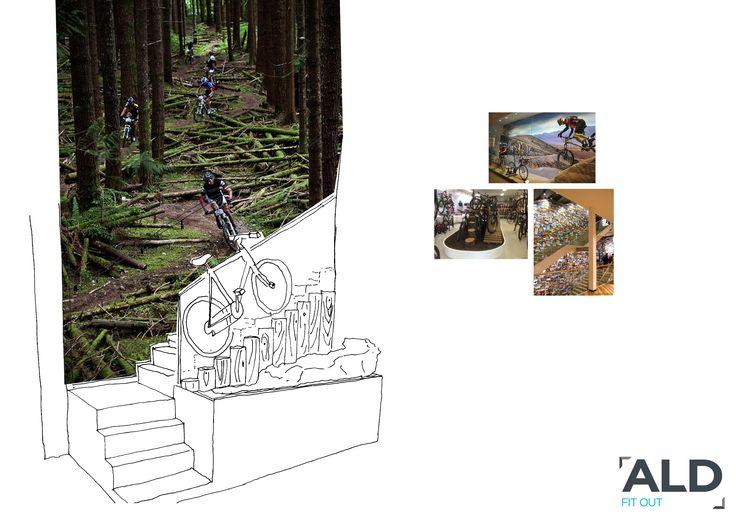 Sketch Proposal Interior Design Bike Shop | Exhibit | Pinterest