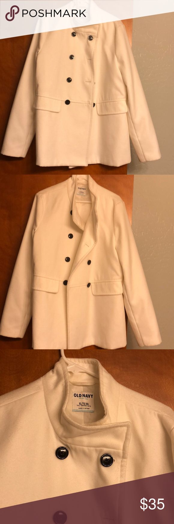 Old navy pea coat Old navy pea coat in ivory. Very cute and sleek. 4 button down. Great condition. Wore a couple times and it no longer fits. Fully lined. Material tag in pictures. Old Navy Jackets & Coats Pea Coats