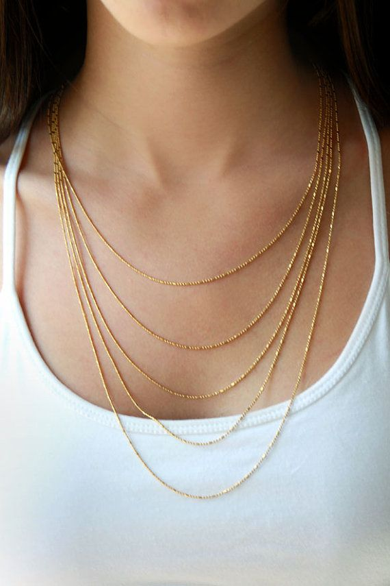Classic layered gold chain necklace, unique and easy to wear. This statement necklace is sophisticated yet delicate - composed from 5 layers of 24k