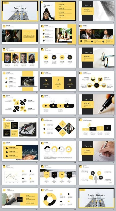 27  yellow business plan report powerpoint template
