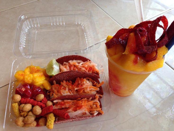 Tacos de tamarindo rellenos de jicama y zanahoria