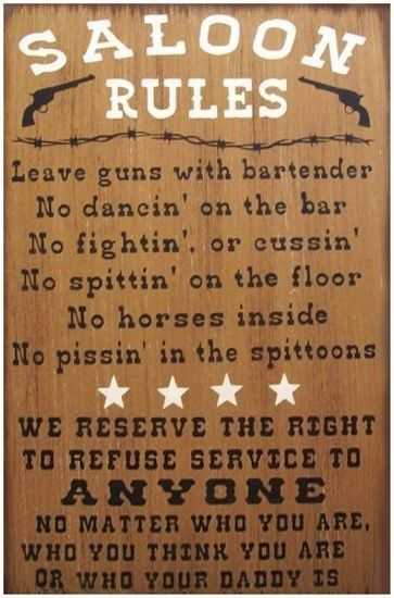 Saloon Rules Western Primitive Country Distressed Wood Sign Home Decor #RusticPrimitive