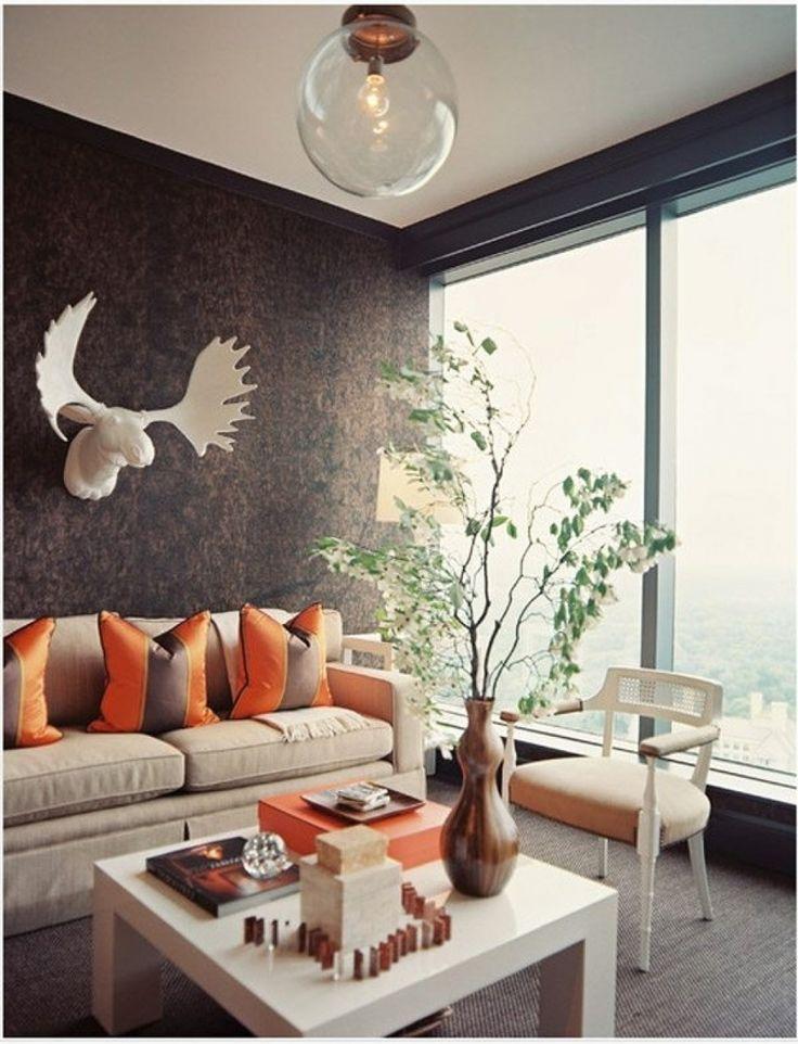 wohnzimmer deko orange natrliche farbgestaltung in erdtnen ...
