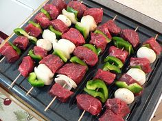 "Oven kabobs - set broiler to high and place pan 4-6"" below broiler. Steak 2 min per side Chicken 6 min per side"