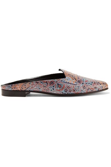 Pierre Hardy - Jacno Printed Leather Slippers - Blue - FR