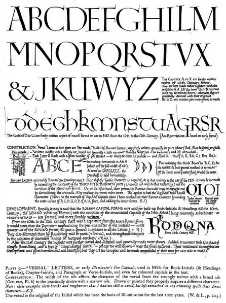 """Versal letters, by Edward Johnstone. From the book, """"Manuscript & inscription letters for schools & classes & for the use of craftsmen (1909)."""""""