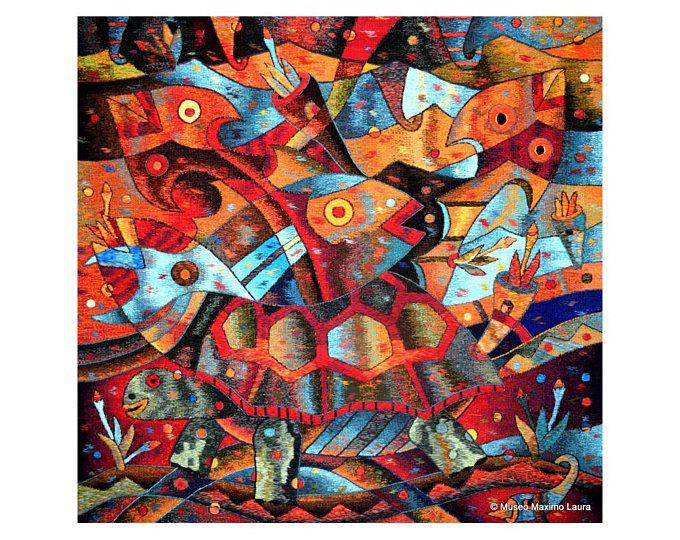 Abundancia del mar de la mano tapiz tejido por Maximo Laura cuadrado tejido colgante de pared, arte de la tapicería contemporánea, tapices telar, Alpaca