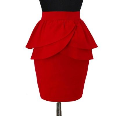 Plus Size Red double layer Peplum Pencil Skirt | Elizabeth's Custom Skirts