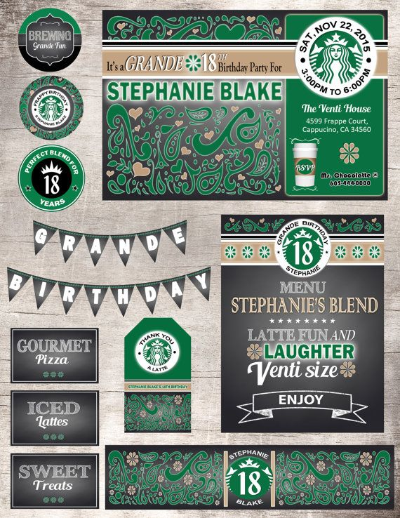 Starbucks Theme Birthday Party Set Bridal by LemonSquaredLemons