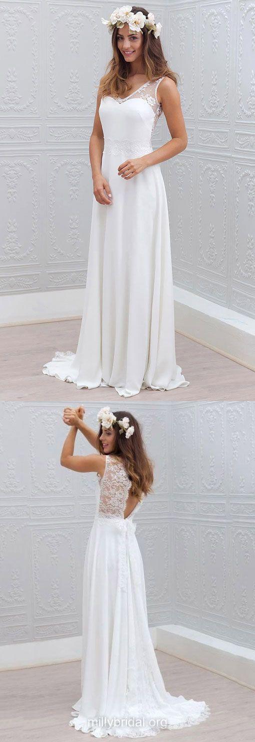 White Wedding Dresses Lace, Sheath/Column Bridal Gowns V-neck, Chiffon Wedding Dress Simple New Style