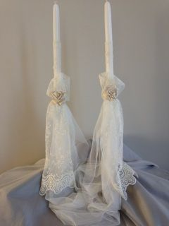 "imported european lace with handmade satin rose connected by english tulle set includes two 21"" hand held lambathes   candles are used for the sacrament of Holy Matrimony in the Eastern Orthodox churches, including Greek, Bulgarian, Serbian, Russian, Antiochian, Ukrainian and Romanian"