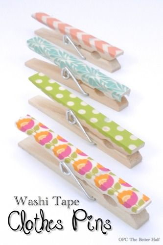 Washi tape pegs - add a magnet for the fridge, use to pin a gift bag, make asset with a length of twine for hanging kids art...