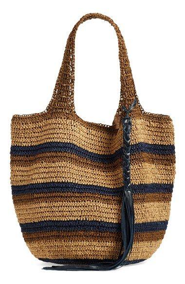 Stripe Crochet Straw Shoulder Bag