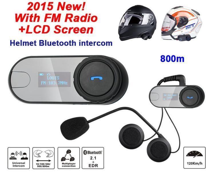 LCD Visible Screen Motorcycle Helmet Intercom Interphone Headset With FM Radio #Freedconn