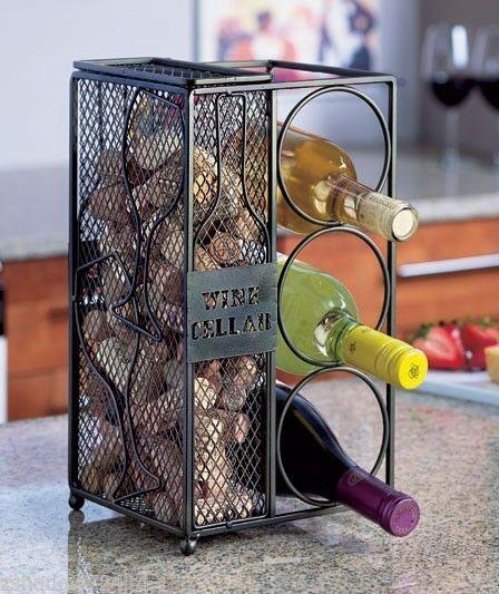 Metal Wine Cellar Wine Bottle Rack & Cork Holder Stand Cabinet NEW