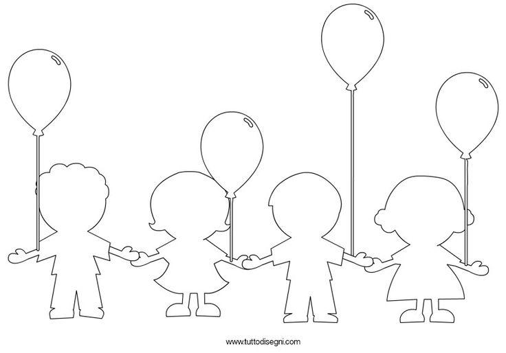 Bambini con i palloncini da colorare - Tutto Disegni