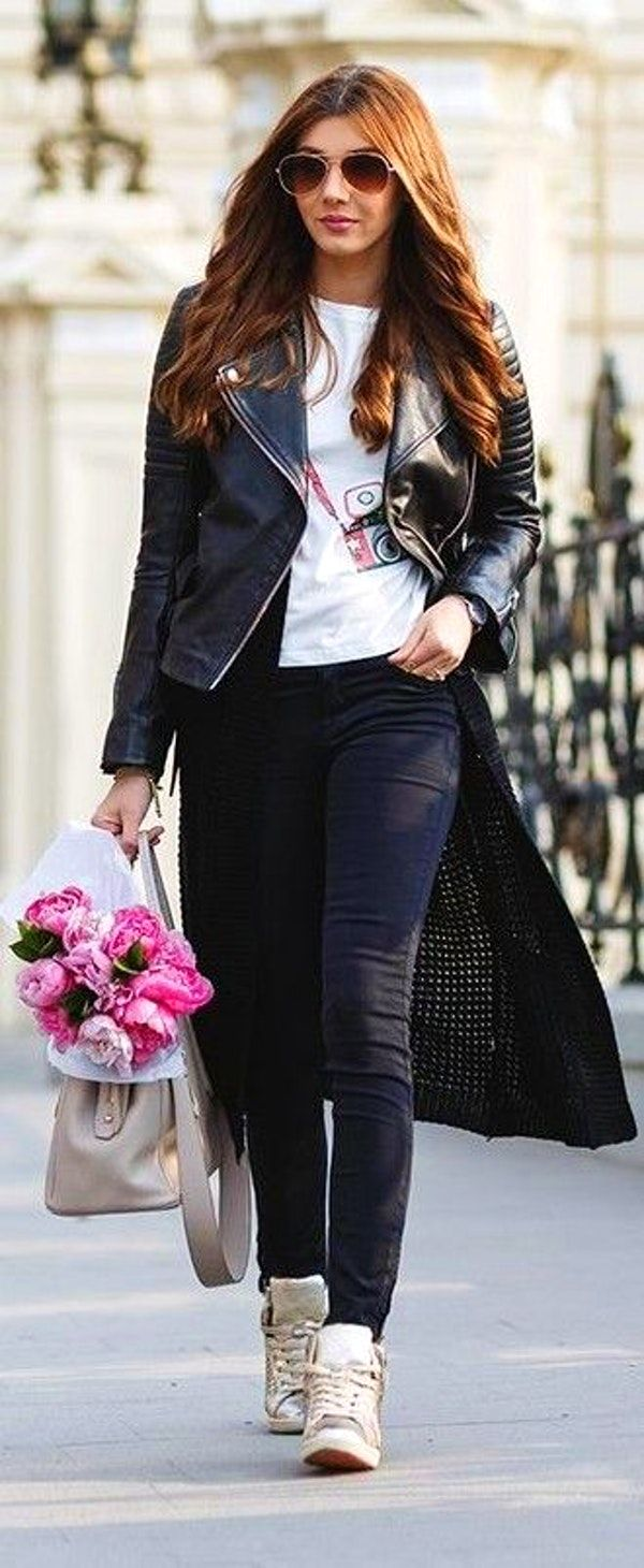 Black Biker Jacket, Black Long Cardigan, Black denim, White Sneakers | The Mysterious Girl