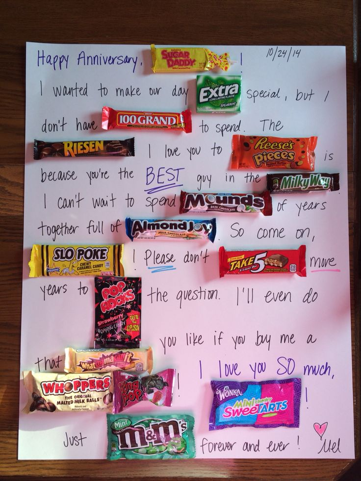 Poster board candy card made for my boyfriend our