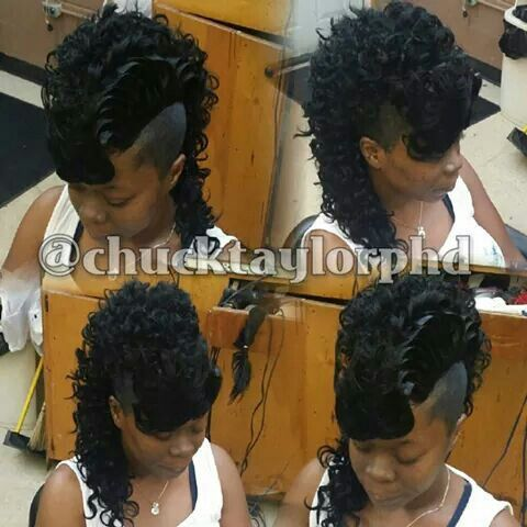 Curly Mohawk  my weave styles  Mohawk hairstyles Hair styles Ponytail styles