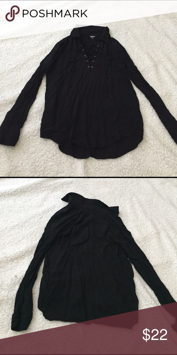 Only worn once lace up black collared shirt Pockets in front Lulu's Tops Blouses
