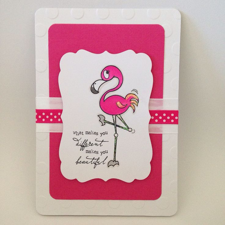 Bright pink flamingo card. Hand coloured.