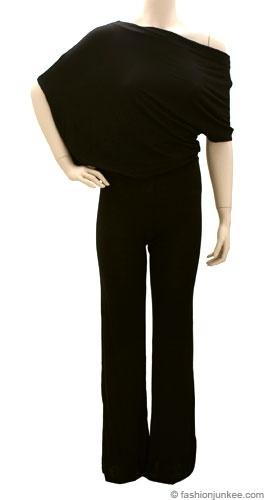 plus size Jersey Off the Shoulder Jumpsuit, Wide Leg Gaucho Pants-Black