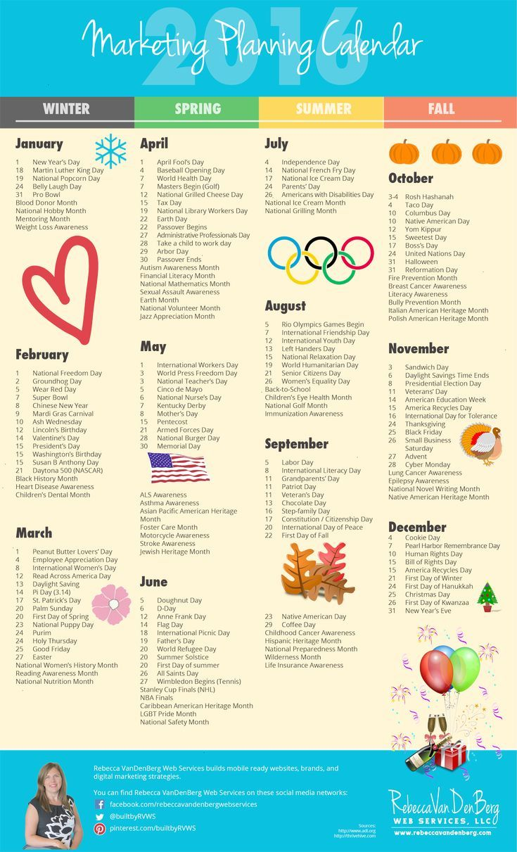 2016 Marketing Planning Calendar with Monthly Worksheets