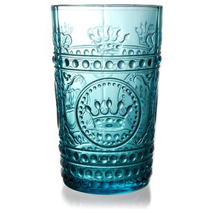 Transitional Cocktail Glasses Louis Highball Glass, Turquoise