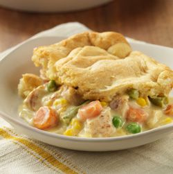 Home-Style Chicken Pot Pie... A hearty recipe with tender chunks of chicken and vegetables in a creamy sauce with a flaky topper