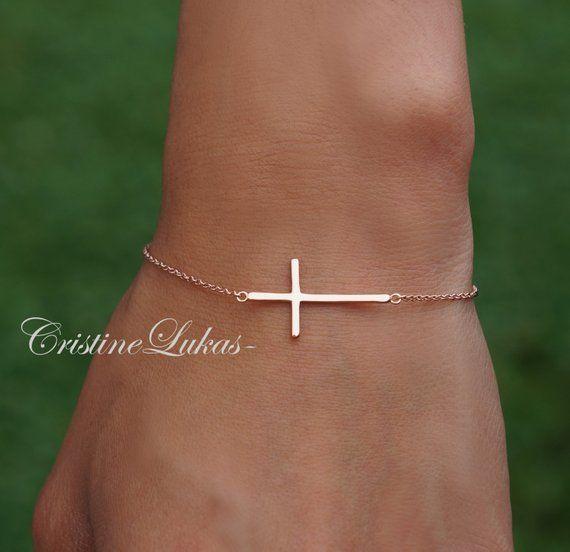 yellow, white, rose gold 14K Solid Gold Sideways Cross Bracelet