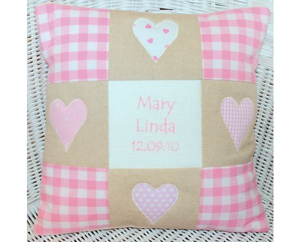 Patchwork Gingham Hearts Cushion