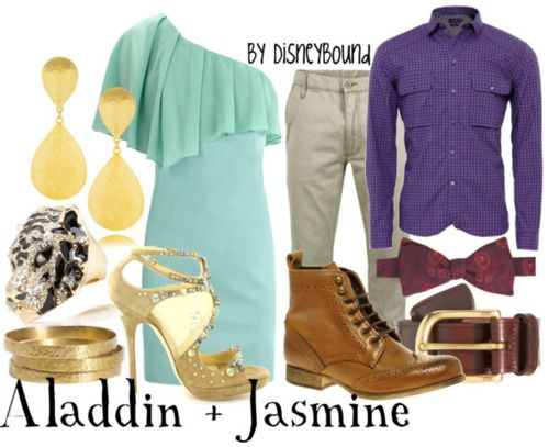 """Aladdin and Jasmine"" ~ Perfect for couples with a night on the town! From Disney's Classic Aladdin, these outfits are inspired to coincide and compete with the famous street-rat and Agra bah Princess. Designed by Leslie Kay or also known as the designer of Disneybound outfits. Can be found on Polyvore or her personal shop or  tumblr account."
