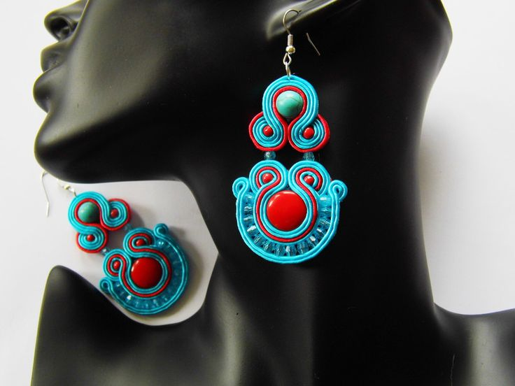 Chandelier Earrings – earrings soutache – a unique product by Kokonek on DaWanda