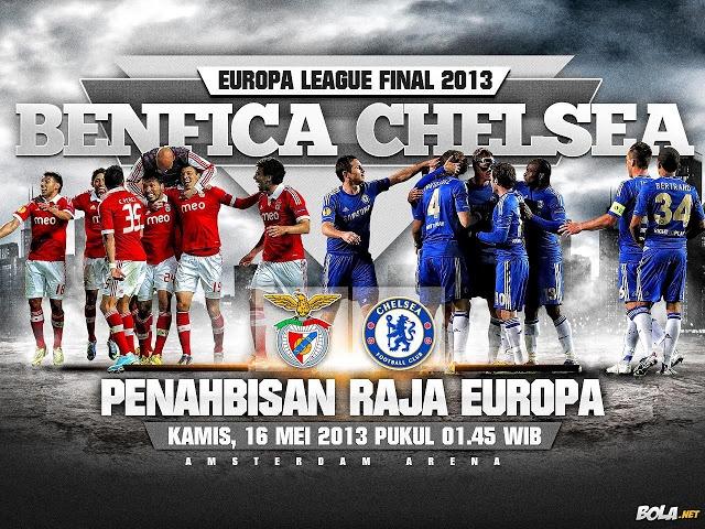 Benfica Vs Chelsea akan berhadapan pada Final Europa League 2013, yang akan berlangsung pada 16 Mei 2013 pukul 1:45 AM WIB di Amsterdam ArenA- Amsterdam.    Read more: http://amriawan.blogspot.com/2013/05/prediksi-hasil-pertandingan-final.html#ixzz2TE7JPLPN