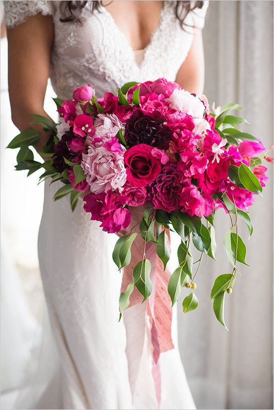 www.littlehillfloraldesigns.com Bright fuchsia bridal bouquet designed with peonies, garden roses, bougainvillea, dahlias, roses, orchids and foliage.