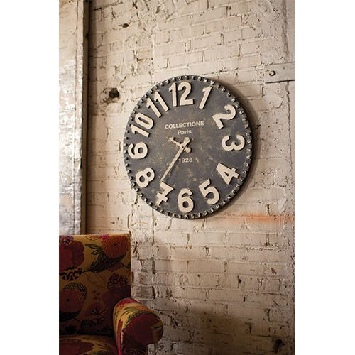 Rustic Black and White Wooden Wall Clock