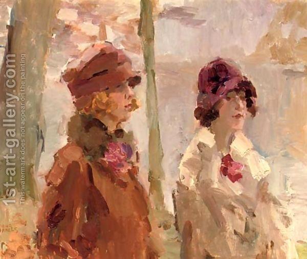 Isaac Israels:Meisjes in het Haagsche Bosch elegant ladies strolling in the park