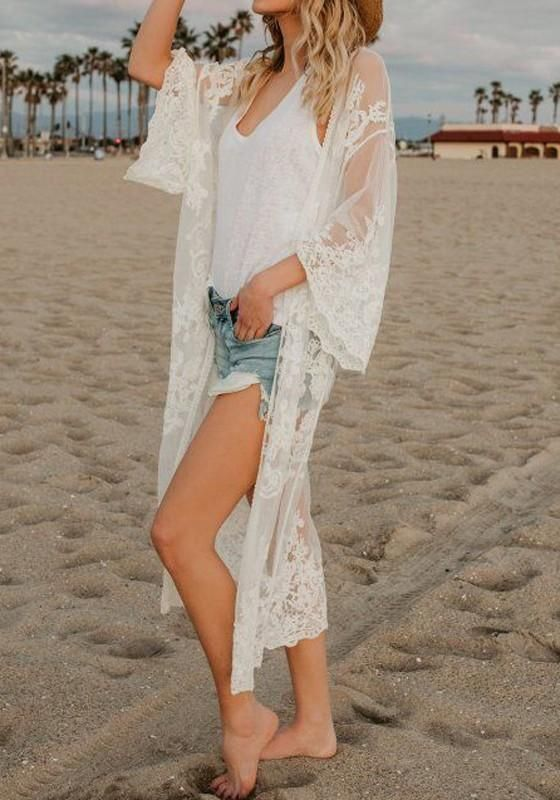 2c85c4fc2c White Patchwork Lace Embroidery Sheer Beach Party Grenadine Kimono Cover Up
