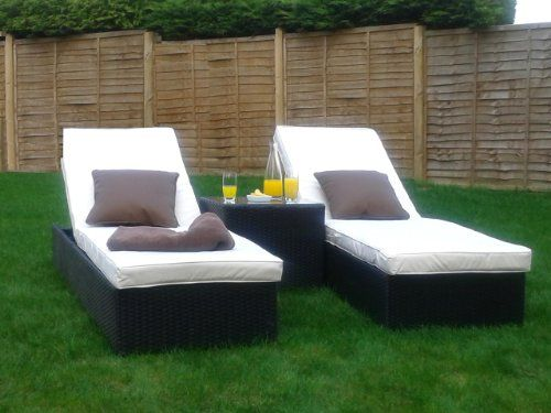 marco phillippe twin rattan sunlounger set with table black