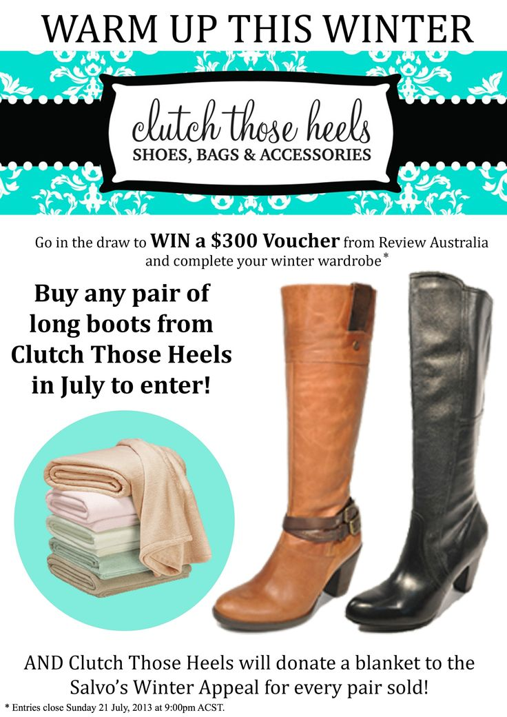 """Enter our """"Warm Up This Winter"""" promotion for your chance to WIN a Review Australia voucher and donate goodwill at the same time! (Entries close on Sunday 21st July, 2013 at 9pm ACST.) www.clutchthoseheels.com"""