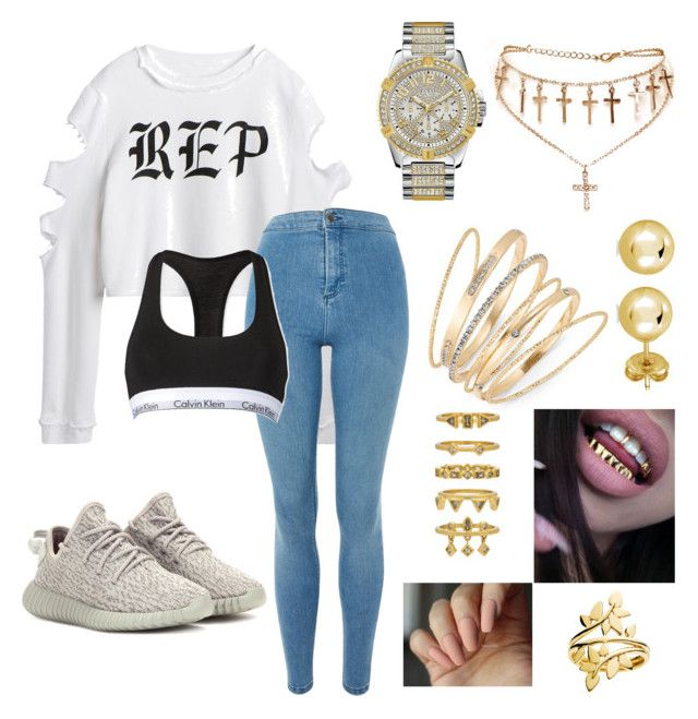 """Anover rapper outfit"" by kiera-leigh-baker on Polyvore featuring beauty, adidas Originals, Topshop, GUESS, Thalia Sodi, BERRICLE, Luv Aj and Calvin Klein"