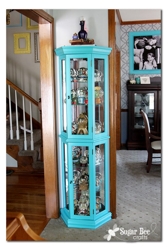Painted curio cabinet - will be doing this eventually to the two my parents are giving to us from our childhood. Not the blue color, but need to update the cabinets a bit.