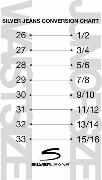 Silver Jeans Size Conversion Chart